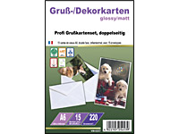 Your Design 15 Inkjet-Grußkarten A6 Glossy/Matt 220g inkl. 15 Kuverts